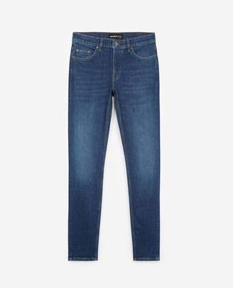 The Kooples Dark blue slim jeans with leather pocket