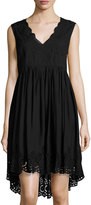 Max Studio Solid Eyelet Hem Embroidered Dress, Black