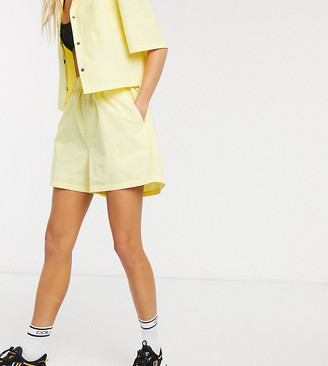 Collusion nylon shorts in yellow co