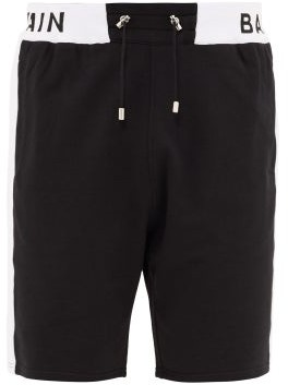 Balmain Logo-print Cotton Basketball Shorts - Mens - Black