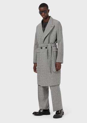 Emporio Armani Belted, Casentino Wool Coat With Op-Art Motif
