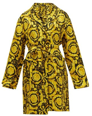 Versace Baroque-print Silk-twill Robe - Womens - Gold Multi