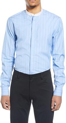 Tiger of Sweden Slim Fit Stripe Band Collar Dress Shirt