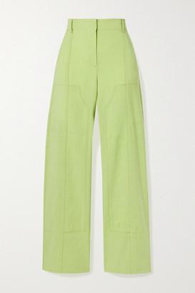 Jacquemus Estero Hemp-blend Straight-leg Pants - Chartreuse