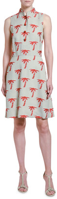 Giorgio Armani Palm-Tree Embroidered Sleeveless Shirtdress