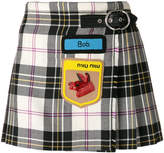 Miu Miu embroidered tartan mini skirt
