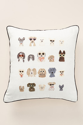 Rifle Paper Co. x Loloi Dog Days Embroidered Pillow By in Beige Size 22 X 22