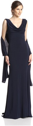 Terani Couture Women's Drape Back Gown