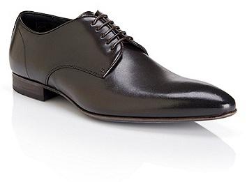 HUGO BOSS Dairon Italian Leather Pointed Oxfords - Dark Brown