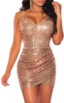 Maxwell Women's Sexy Deep V-Neck Bodycon Sequin Ruched Party Club Mini Dress