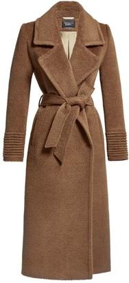 Sentaler Boucle Notched Collar Wrap Coat