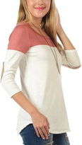 Magic Fit Rose Color Block Elbow Patch Tee