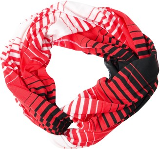 Tickled Pink Women's Striped Game Day T-shirt Infintiy Scarf