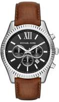 Michael Kors MK8456 Lexington Brown Leather Analog Sport Quartz 45mm Mens Watch
