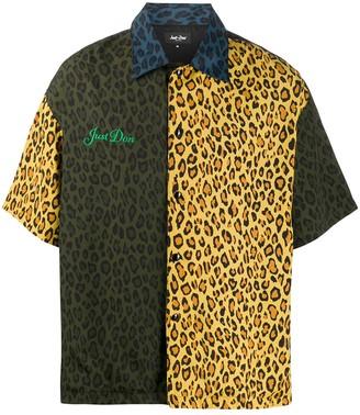 Just Don Leopard-Print Short-Sleeved Shirt