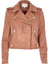 River Island Womens Dusty pink faux suede biker jacket
