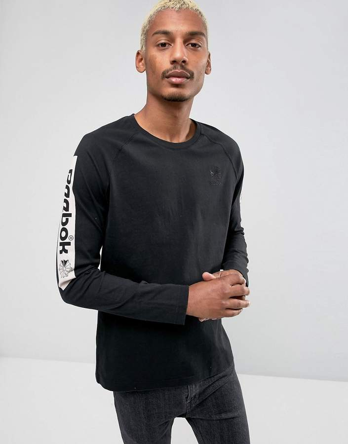 Reebok Long Sleeve T-Shirt With Arm Print In Black Br4635