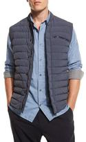 Vince Quilted Nylon-Blend Down Vest, Gray