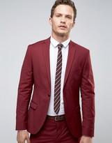 Selected Super Skinny Suit Jacket In Burgundy