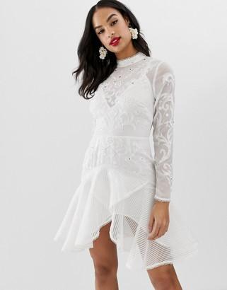 Asos Design DESIGN trumpet hem mini dress with embroidery and embellishment-Multi