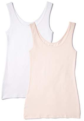 Iris & Lilly BELK023_M2 Vest, Multicolour (Soft Pink/White), XX-Large, Pack of 2
