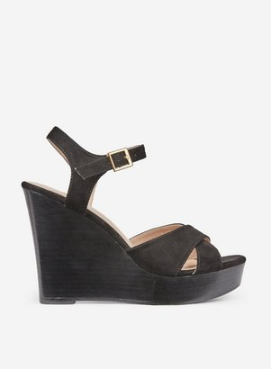 Dorothy Perkins Womens Black Radical Stacked Wedge Sandals, Black