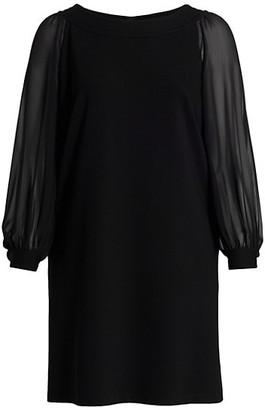 Lafayette 148 New York, Plus Size Linden Sheer-Sleeve Combo Dress