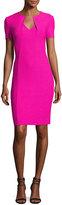 St. John Ribbon Texture Knit Folded V-Neck Sheath Dress, Pink
