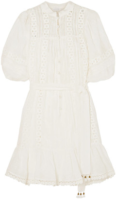 Zimmermann Embroidered Cotton-gauze Mini Dress