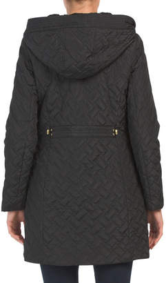 Sherpa Lined Long Hooded Quilted Coat
