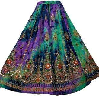 Doorwaytofashion Tie Dye Rayon Party Sequin Block Printed Vibrant Colour Skirt 8 10 12 14 16 18 20 22 (Jade/Purple/Blue One Size 8 10 12 14)