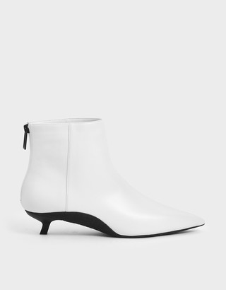 Charles & Keith Two-Tone Kitten Heel Ankle Boots