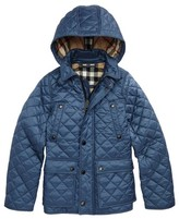 Burberry Boy's Charlie Quilted Hooded Jacket