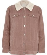 River Island Womens Pink corduroy borg collar trucker jacket