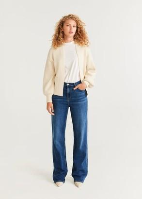MANGO Puffed sleeves cardigan light/pastel grey - M - Women