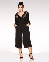 Quiz Curve Wrap Over Embroidered Jumpsuit