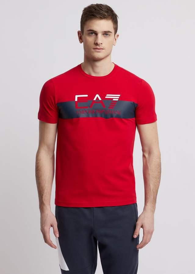 c085effdb7 Stretch Cotton T-Shirt With Ea7 Logo Print