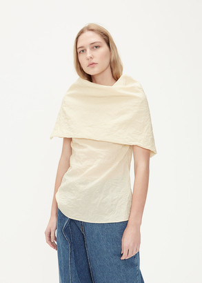 Aalto Women's Exaggerated Cowl Neck Top in Light Beige Size 38 Cotton/Polyamide