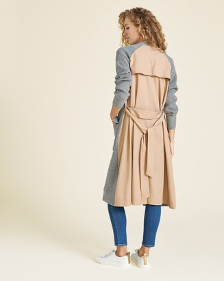 Veronica Beard Pearl Mixed-Media Trench Cardigan