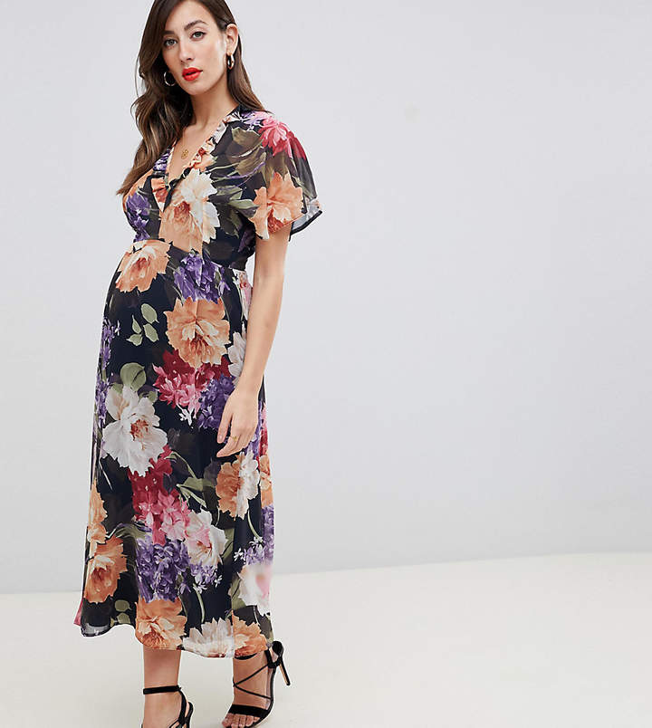 Queen Bee flutter sleeve midi dress in floral print