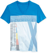 Armani Exchange Men's Electric Blue Graphic-Print Logo V-Neck T-Shirt