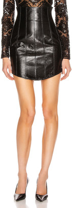 David Koma Corset High Waist Leather Skirt in Black | FWRD