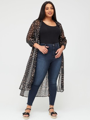 V By Very Curve Maxi Longline Blouse - Print