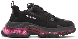 Balenciaga Black and Pink Triple S Sneakers