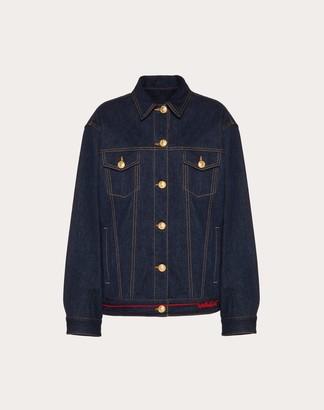 Valentino Denim Jacket With Signature Embroidery Women Dark Denim 100% Cotone 38