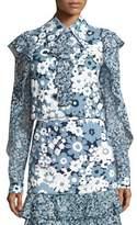 Michael Kors Floral Ruffled-Trim Blouse, Blue/Pattern