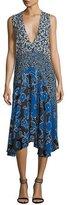 Michael Kors Plunging Sleeveless Georgette Mixed-Print Midi Dress