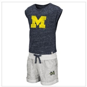 Colosseum Toddlers Michigan Wolverines Cuffed Tee and Short Set