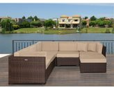 Atlantic Modena Deluxe 6-piece Sectional Set with Antique Beige SUNBRELLA Cushions