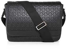 Salvatore Ferragamo Gancini Embossed Leather Messenger Bag